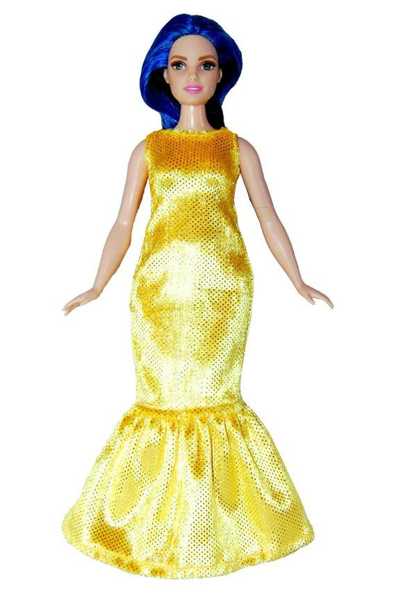 Long Dress Curvy Barbie Fashionista doll clothes TKCT handmade Yellow Sparkle