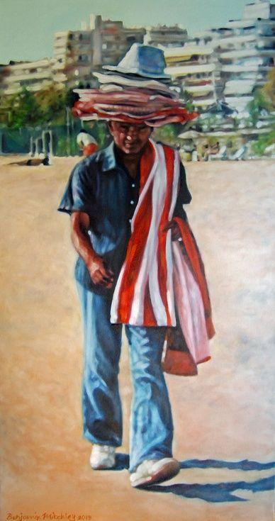 ARTFINDER: Hat Seller - 31x61x4cm, Oil on Canvas