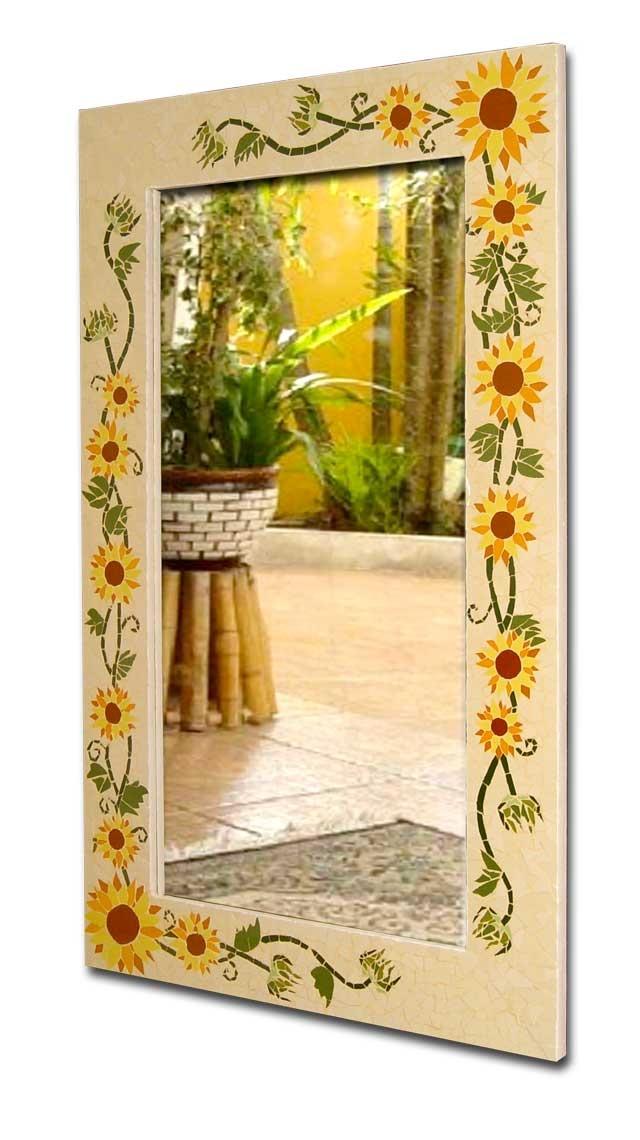 Moldura de espelho em mosaico, com base em compensado naval, mosaico de azulejos cerâmicos, Motivo flores de girasol...