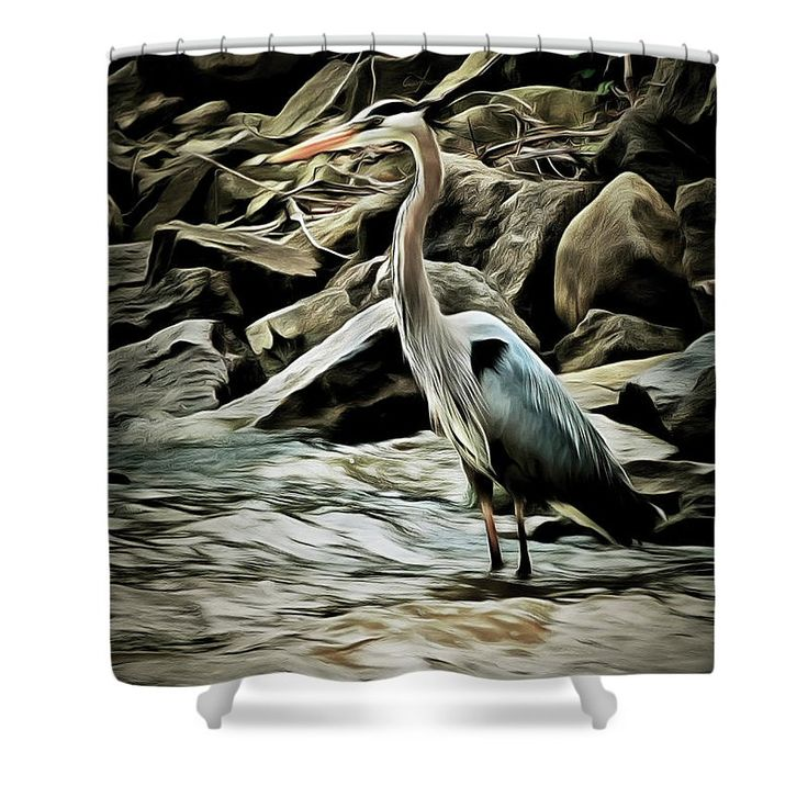 Great Blue Heron Shower Curtain by Leslie Montgomery.