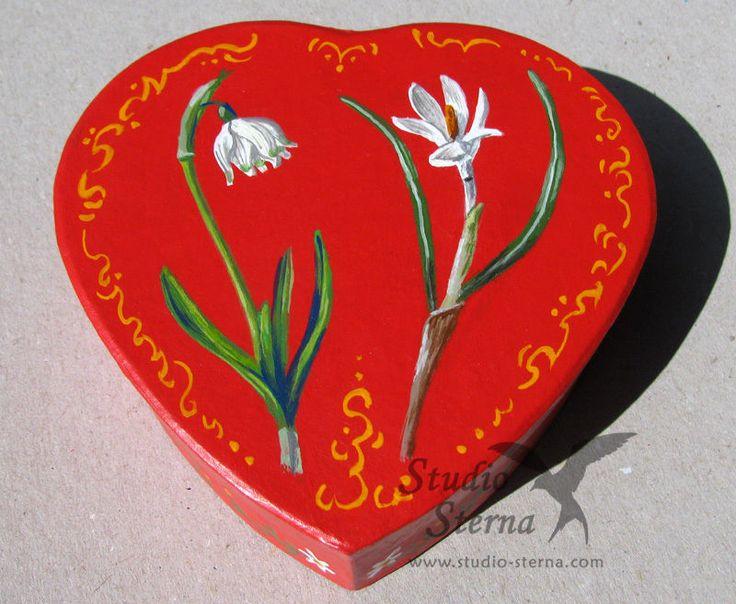 Hand bemalte Schachtel Blumen Kunst Tier hand painted box red flowers nature art   eBay