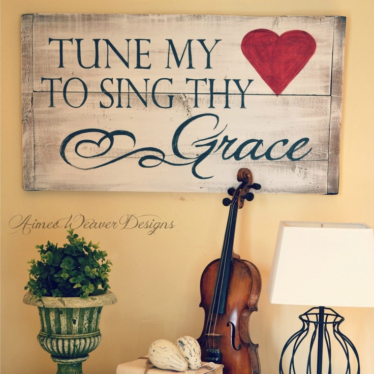 """Image of Handpainted wood sign """"Tune my Heart"""""""