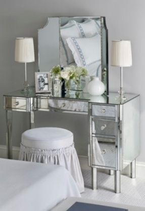 Silver Vanity Table Foter Bedroom Makeup Small