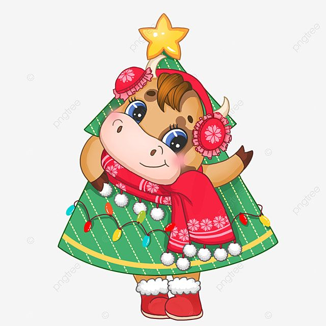 Cow Drilling Inside The Christmas Tree Zodiac Lovely Animal Png Transparent Clipart Image And Psd File For Free Download Cute Christmas Tree Christmas Drawing Cartoon Cow