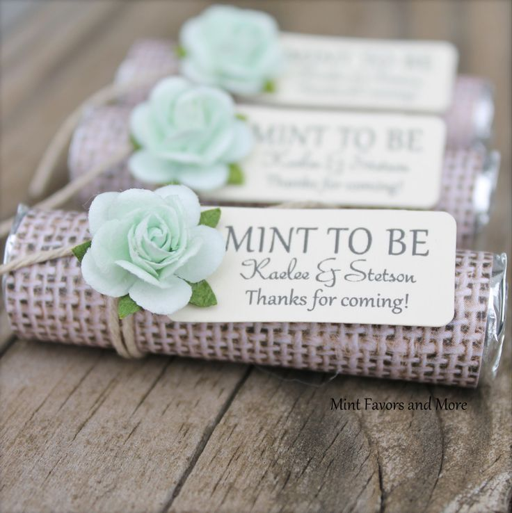 This listing is for 100 personalized MINT TO BE wedding favors. You will receive the favors completely ASSEMBLED and ready for your guests. These unique favors are perfect for a wedding, bridal shower, anniversary or engagement celebration. Assembly times can vary each week. Please see the link below for current turn-around time. www.etsy.com/shop/BabyEssentialsByMel/policy ~~~HOW TO ORDER~~~ 1- choose a design that fits your wedding or party decor 2- choose quantity and tag d...