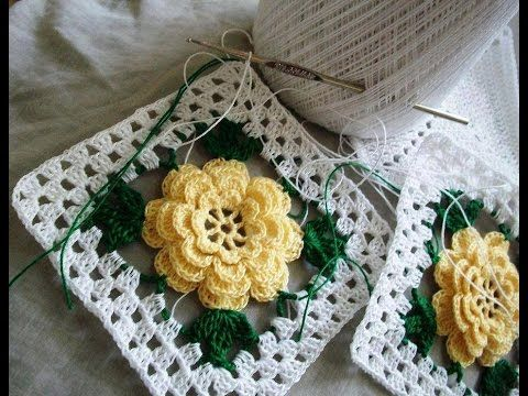CROCHET GRANNY SQUARE ROSE FLOWER-1