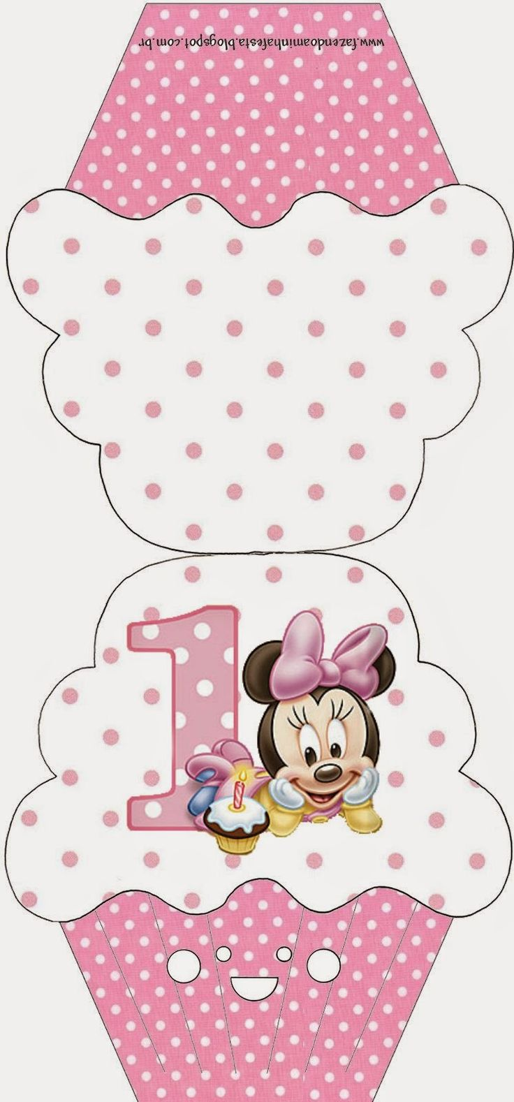 Minnie Primer Año con Lunares: Invitaciones para Imprimir Gratis.