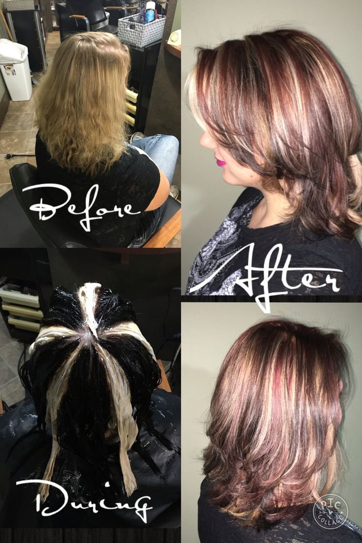 Pinwheel Color Technique Before During And After Hair