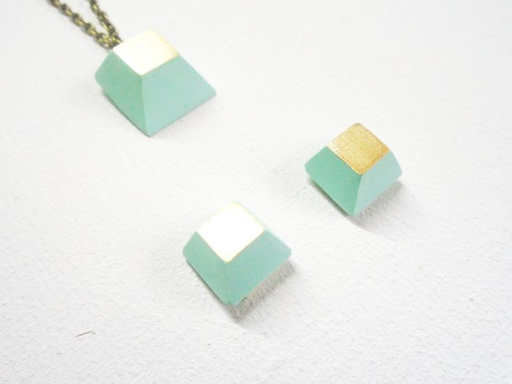 Earrings, stud, handmade, cold ceramic,  1 cm, colors mint green + silver, gift for her, woman gift, designed by Musua. by Musua on Etsy