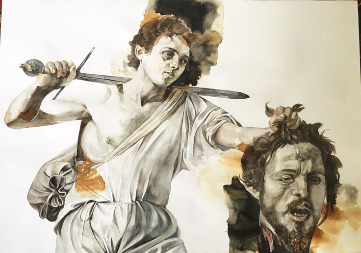 Classical Archetypes after Caravaggio's David and Goliath Title: Redemption  Watercolour on Fabriano 2018 Karin Dando