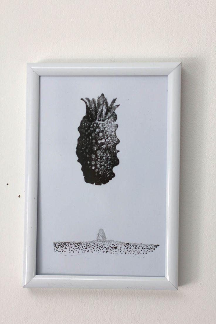 """carte imprimée motif surréaliste """"Rencontre 2"""" noir : Imprimés par ampersand-press-lab-ig"""
