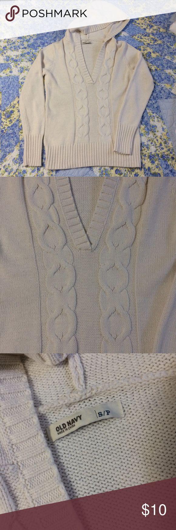 Old Navy Hoodie Sweater V-neck, hoodie, good condition white sweater. Old Navy Sweaters V-Necks