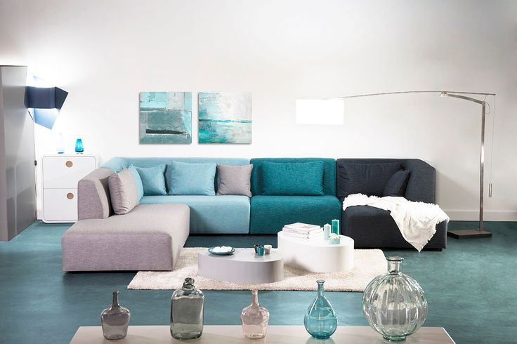 Un canapé design à composer, pour un rendu parfait ! On adopte le canapé pluriel http://www.miliboo.com/canape-modulable-design-tons-bleus-365cm-compo-2-pluriel-40630.html
