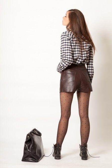 Short cuir vintage 80