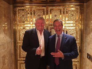 British politician Nigel Farage meets President Elect Donald Trump at the Trump Tower, NYC on November 12th