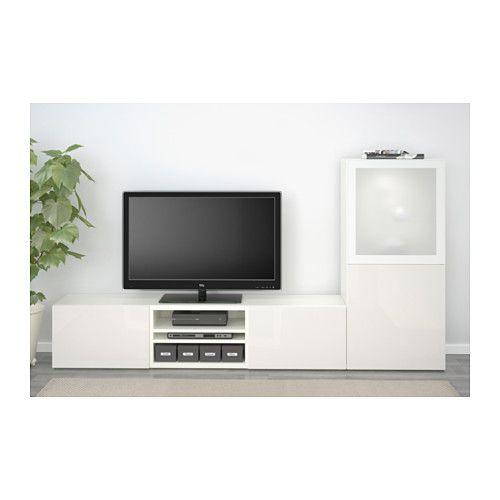 BESTÅ Combinaison rangt TV/vitrines - blanc/Selsviken brillant/blanc verre givré, glissière tiroir, fermeture silence - IKEA