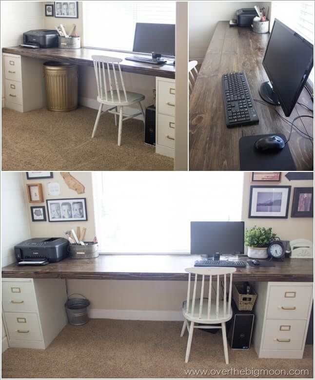 Diy Computer Desk Case Designs For Small Spaces For Two Ideas Ikea Into Vanity Legs Plans Wo Diy Computer Desk File Cabinet Desk Home Office Furniture