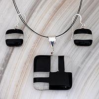 Dichroic glass jewelry set, 'Black Minimalism'