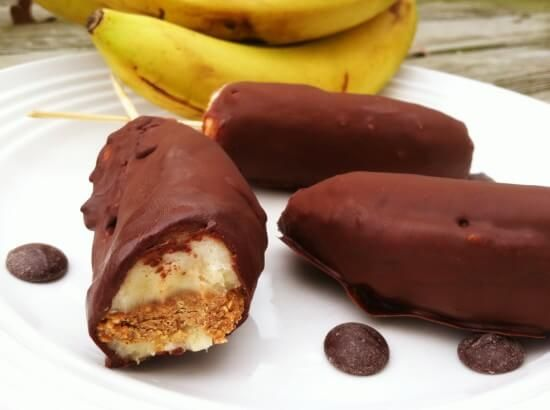Chocolate Covered Banana Pops with Cinnamon Vanilla Almond Butter