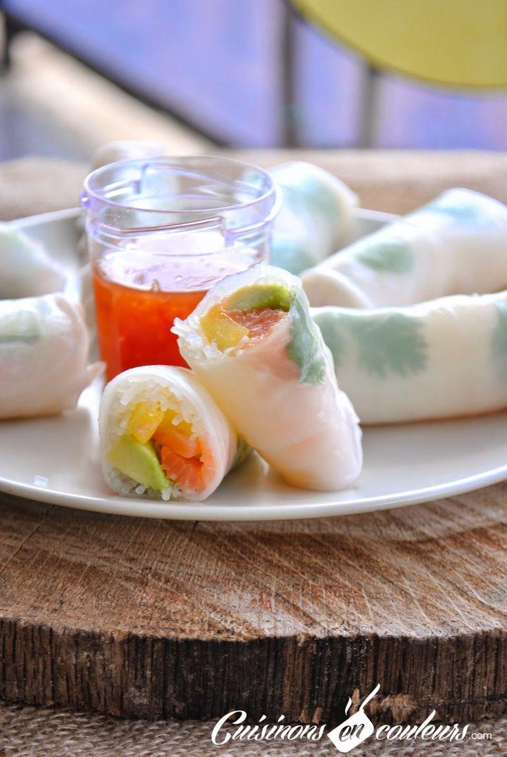 Cuisinons en Couleurs: Rouleaux de printemps au saumon fumé, à la mangue et à l'avocat