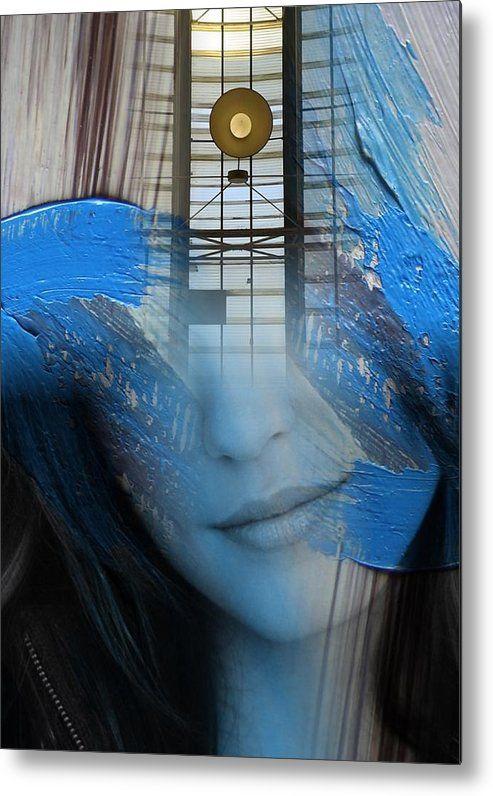 ' Prussian Blue ' - abstract portrait metal art print   #art  #portrait   #prints  #abstractart  #interiordesignideas  #artprint   #blue