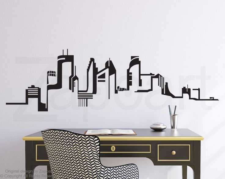 City skyline outline stencil minneapolis skyline vinyl wall