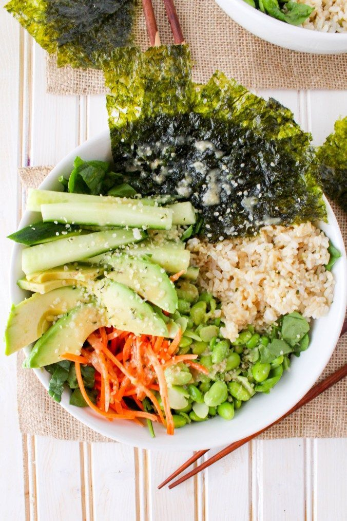 This deconstructed sushi salad is a simple healthy lunch or dinner. Served with flavorful Sesame Ginger Miso Dressing. Quick & easy recipe! via @gratefulgrazer