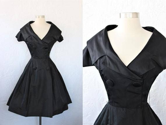 1950s Satin Dress / Vintage 50s Mr Mort Black Satin Portrait Collar Tuxedo Style Cocktail Party Dress Full Skirt Evening Dress LBD