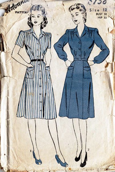 1940s day dresses - very nice!  I just prefer them a foot longer for me, but I love the simplicity and tailoring of these two dresses.