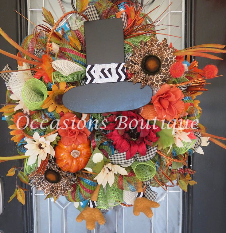 Fall Wreath, Autumn Wreath, Thanksgiving Decoration, Fall Decor, Front door Wreaths, Door Hanger, Turkey, Pilgrim, Ready to Ship by OccasionsBoutique on Etsy