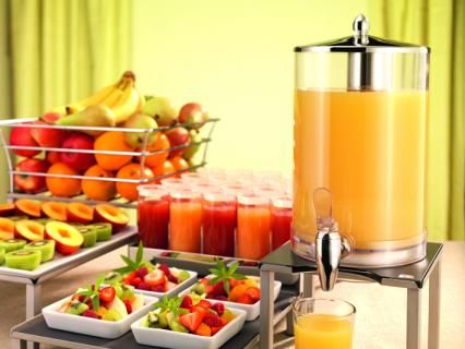 juice dispenser with cooling pack and crushed ice tube, smoothie and juice shot glasses