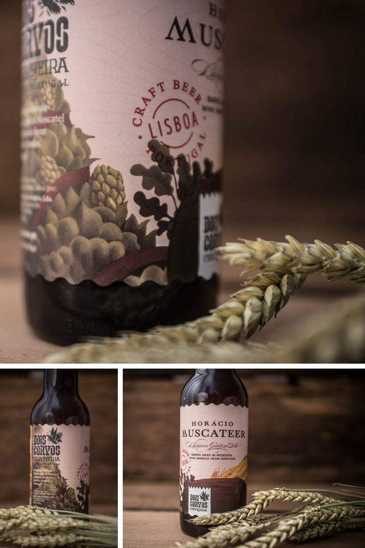 'Horácio Muscateer', a Belgian Golden Ale with 9% ABV, in the label design shows some nuttiness from the Moscatel de Setúbal barrels with slight spiciness and orange flavors from the original beer.
