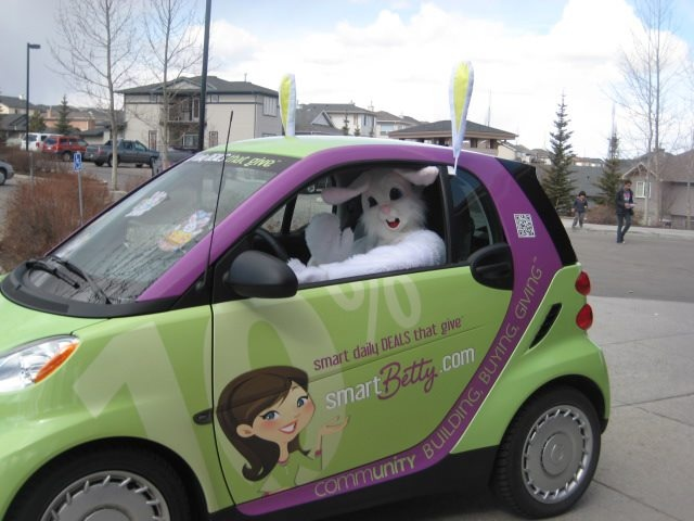 The Easter Bunny took the Smart Betty car for a spin around the neighbourhood