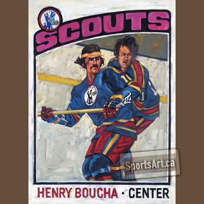 """Kansas City Scouts Card"" - my painting of Henry Boucha. Circa mid-seventies. Happy Birthday Henry!"
