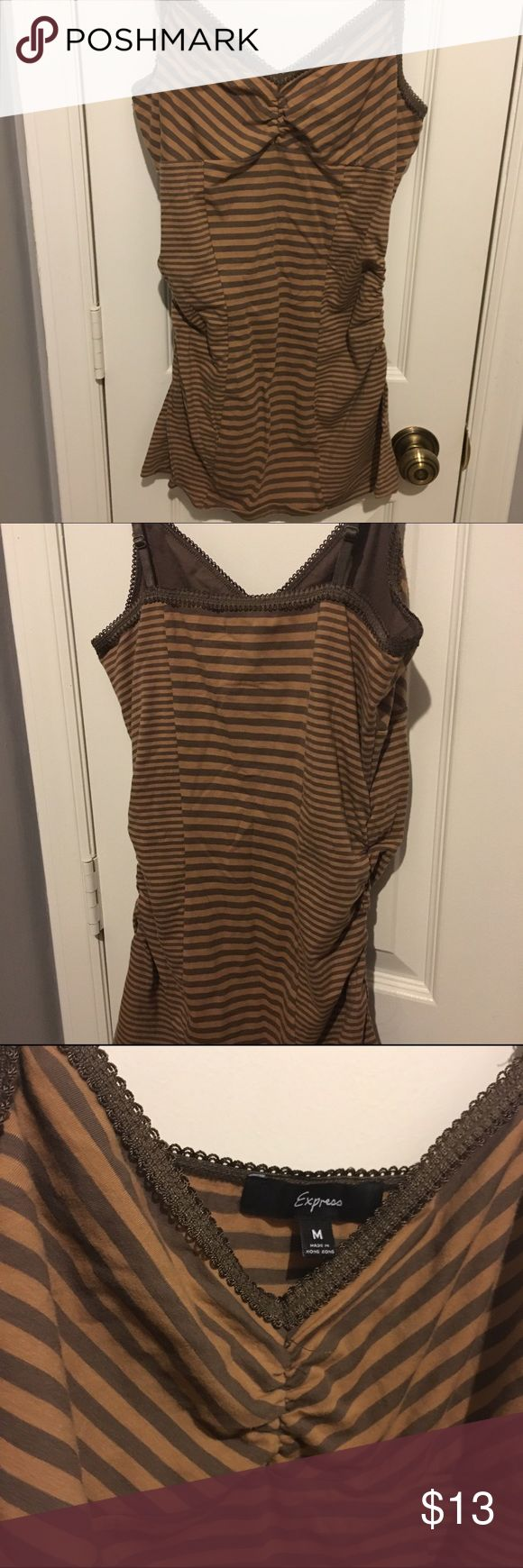 Striped fitted brown Express spaghetti strap tank Striped fitted brown Express spaghetti strap tank. Like new. Super long and cute. Very flattering. Express Tops Camisoles