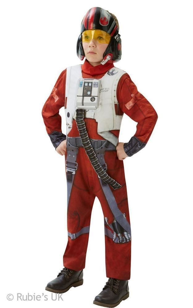 DELUXE STAR WARS FORCE AWAKENS POE X-WING FIGHTER PILOT FANCY DRESS COSTUME MASK