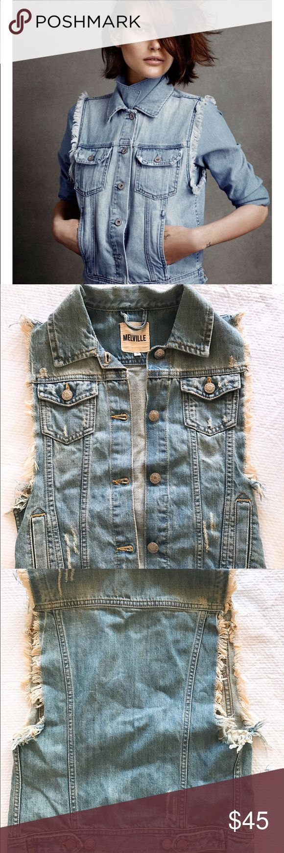 Brandy Melville denim vest frayed denim vest from brandy melville. purchased from another posher but never got around to wearing it. perfect condition Brandy Melville Jackets & Coats
