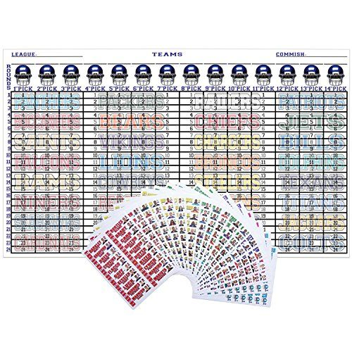 """Fantasy Football Draft Kit 2017 - 2018 5ft X 3ft Color Board with Large 4"""" Color Sticker Labels  The 2017 - 2018 Fantasy Football Draft Kit Is Now Available!  The Best XLarge 5'ft X 3'ft in Color Draft Board (up to 14 teams & 24 Rounds) • 18 Pages Of Large 4"""" Full Color Sticker Labels That Include: Player Name & Photo, Bye Week, Team Name & Position.  Each Position is Easily Recognize by It's Own Color Coded Labels Now With Player Photos.  Includes Top Ranking Players At Their Position..."""