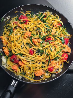 Looks like regular pasta: but it's butternut squash! How to spiralize vegetables to make a gluten-free and low carb pasta dish.