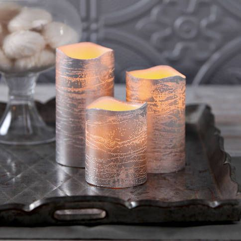Lights.com | Lit Decor | Flameless Candles | Pillar Candles | Silver Metallic Wax Flameless Candle with Timer and Remote, Set of 3