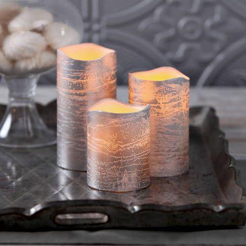 Lights.com | Lit Decor | Flameless Candles | Pillar Candles | Silver Metallic Wax Flameless Candle with Timer and Remote, Set of 3