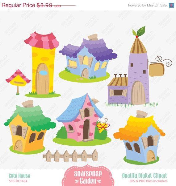 Cute Houses Digital Clipart