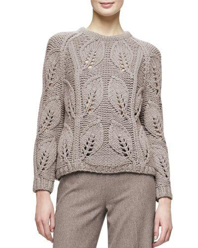 B3AYJ Lela Rose Leaf-Knit Pullover Sweater, Taupe