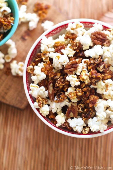 Maple Pumpkin Spice Popcorn | recipe on FamilyFreshCooking.com © MarlaMeridith.com