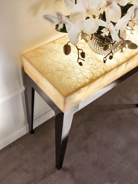 Gorky Hall Table Gold Onyx Backlit W Led