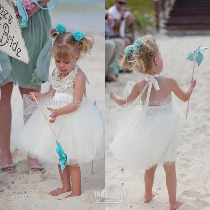 Lovely 2016 Beach Flower Girl Dresses A Line Halter Neck Tea Length Beach Themed Dresses Girl Formal Wear Dresses Monsoon Flower Girl Monsoon Flower Girl Dress From Factory Sale, $114.64| Dhgate.Com