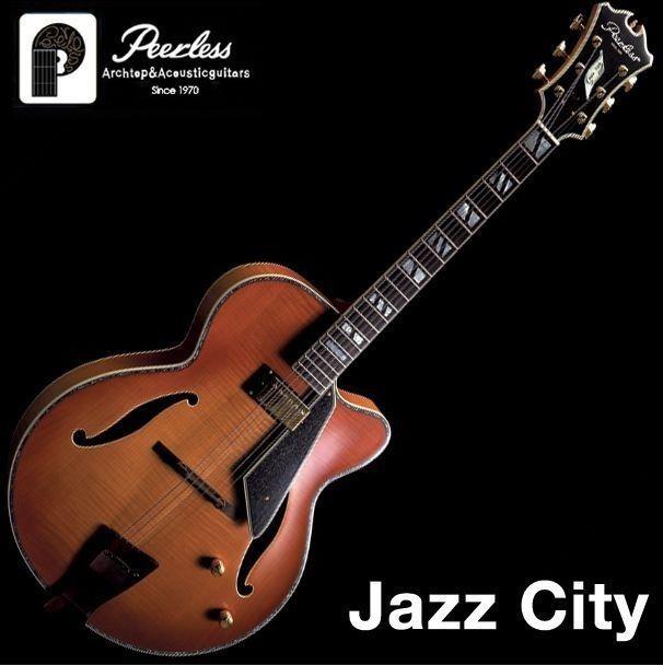 "Peerless Jazz City Full Hollow Body Electric Guitar Flame Cherry Sunburst 17"" #Peerless"