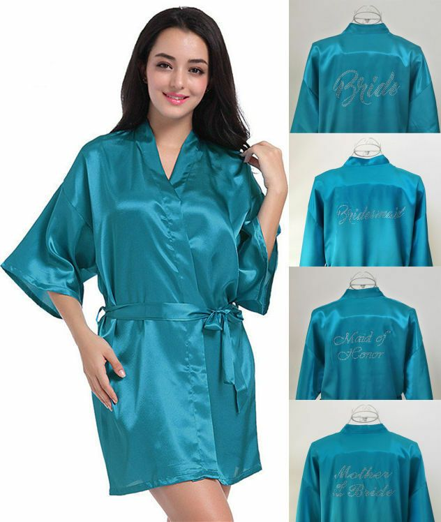 Silk Satin Robe Bride Bridesmaid Wedding Dress Gown Kimono Bathrobe  Personalized Bride Bridesmaid Robe 2c28ffd4907