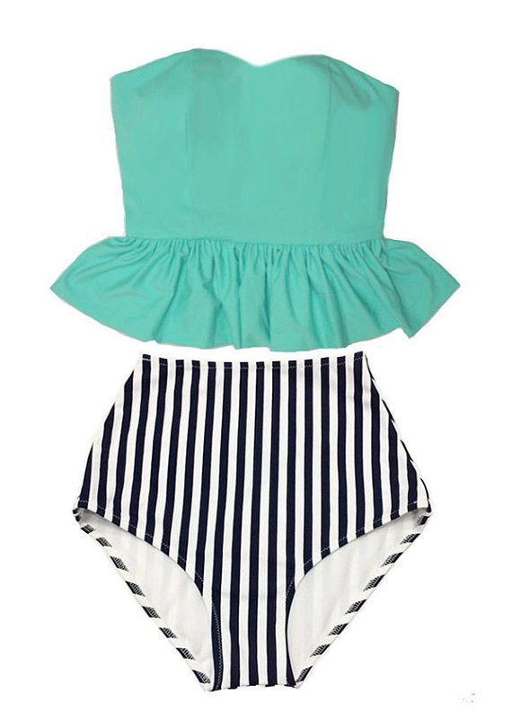 Mint Strapless Long Top and White Navy Blue Stripes Retro Vintage High Waist Waisted Bottom Swimsuit Swimsuits Swimwear Bikini Suit Wear M L