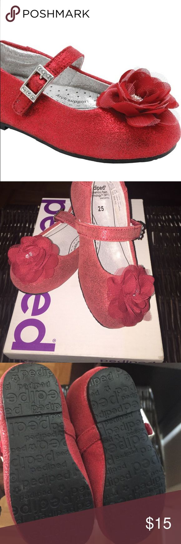 Pediped Stella red sparkle shoes Beautiful and comfortable little girl's shoes. Worn once indoor only pediped Shoes Dress Shoes